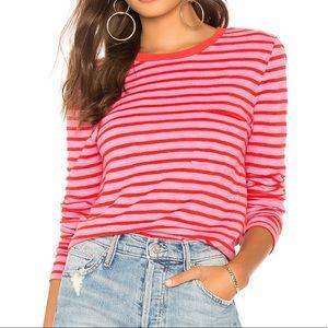 Pam & Gela red pink stripe long sleeve top